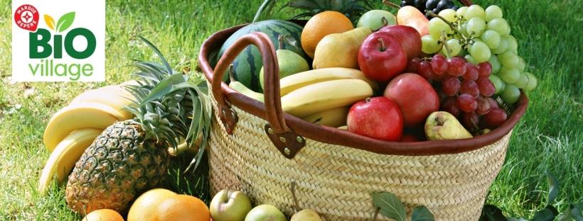 fruit, légume, panier, panier de fruits, panier de légumes, bio, produits bio, aliments bio, nourriture bio, bio village, marque repère, leclerc
