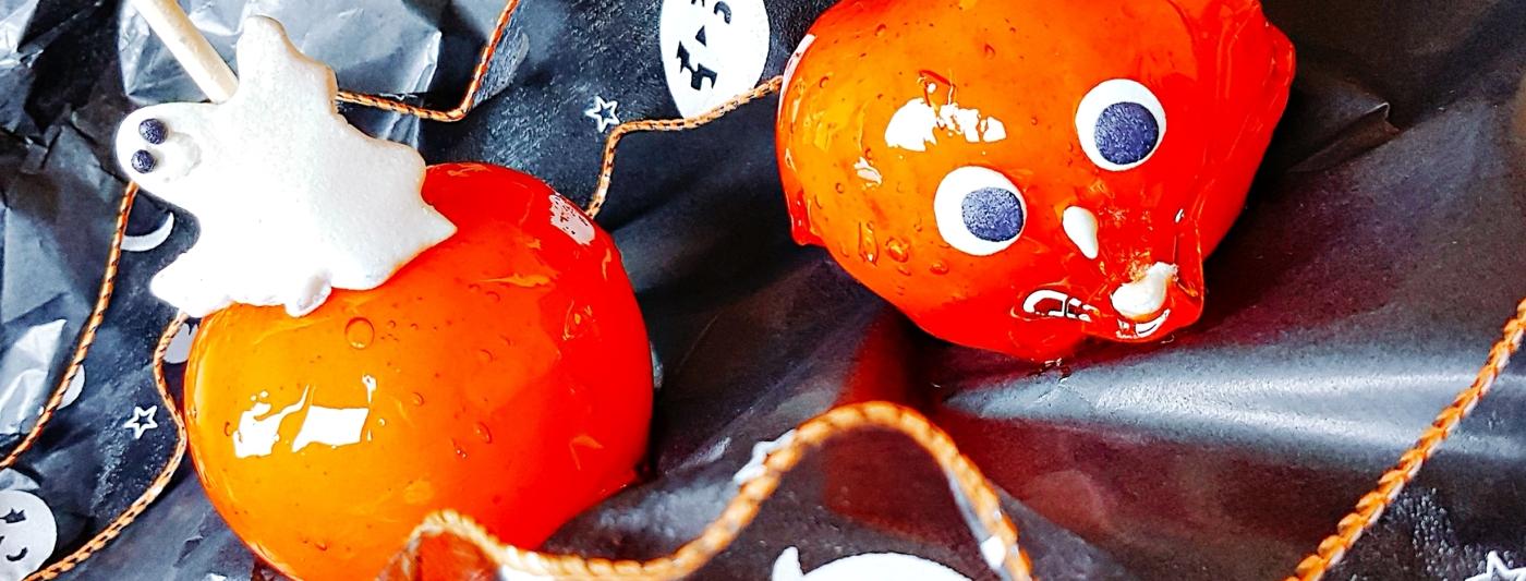 pomme d'amour, pomme amour, pomme, caramel, sucrerie, gourmandise, sucre, pâte d'amande, amande, croquant, orange, colorant alimentaire, fantôme, fête, halloween