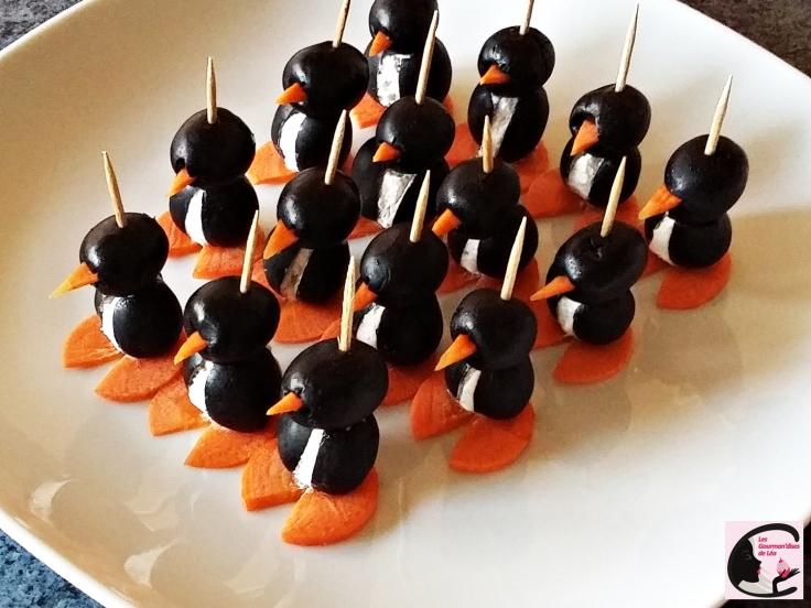 pingouin, amuse-bouche, apéritif, grignoter, salé, fromage frais, olive, olive noire, carotte, idée spéciales fêtes, noël, recette originale