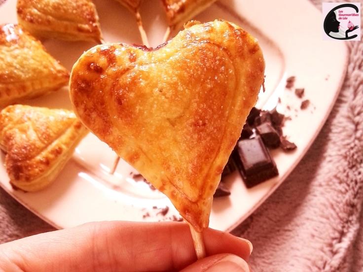coeur, saint valentin, chocolat, chocolat noir, framboise, confiture, pâte feuilletée, sucette, love pops, recette facile, recette originale, amour, gourmandise